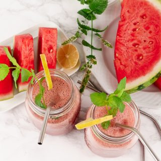 Watermelon Smoothie with Peppermint and Lime (Makes also a Great Cocktail with White Rum)
