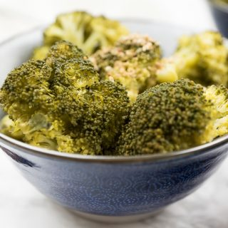 Warm Broccoli Salad with Toasted Sesame Oil and Gomasio