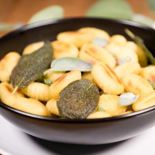 Gnocchi with Crispy Sage Chips and Fresh Sage Leaves
